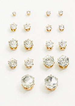9-Pack Gold Gemstone Stud Earring Set