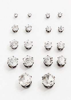 9-Pack Dark Metal Gemstone Stud Earring Set
