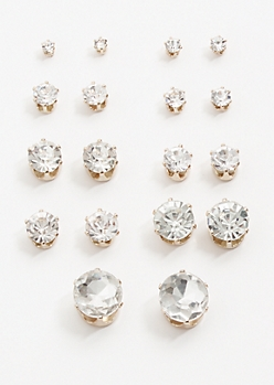 9-Pack Silver Gemstone Stud Earring Set