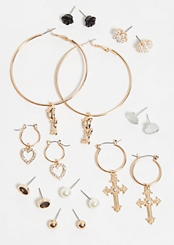 9-Pack Gold Hanging Charm Earring Set