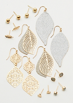 9-Pack Gold Filigree Leaf Drop Earring Set