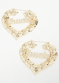 Gold Chunky Heart Hoop Earring Set