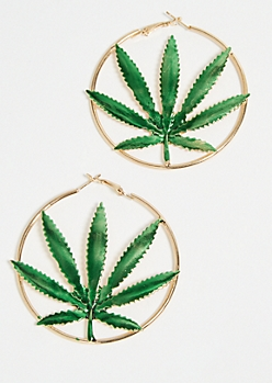 Gold Weed Print Hoop Earring Set