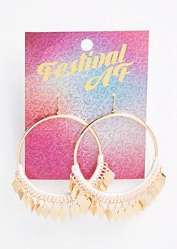 White Threaded Dangle Charm Hoop Earrings