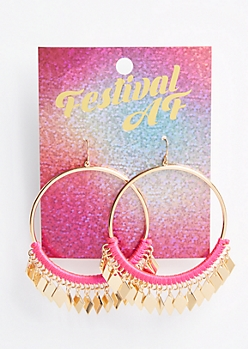 Pink Threaded Dangle Charm Hoop Earrings