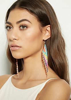 Rainbow Dangle Bead Earrings