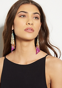 Rainbow Sequin Layered Earrings