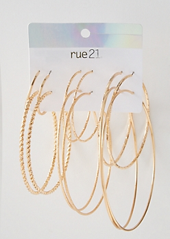 6-Pack Gold Textured Hoop Earring Set