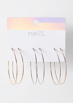 3-Pack Mixed Metal Thin Hoop Earring Set
