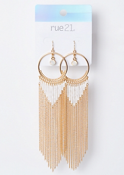 Gold Dangle Opal Fringe Earrings