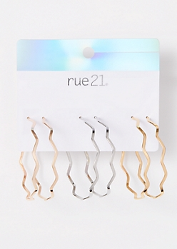 3-Pack Mixed Metal Zig Zag Hoop Earring Set