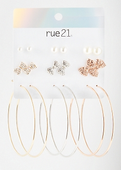 9-Pack Mixed Metal Pearl Bow Earring Set