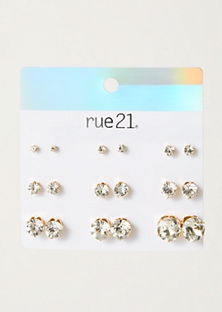 9-Pack Gold Faux Diamond Stud Earring Set