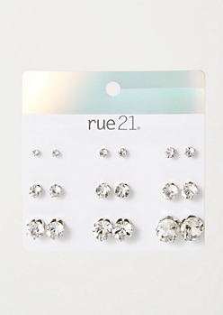 9-Pack Silver Faux Diamond Stud Earring Set