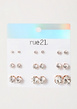 9-Pack Rose Gold Faux Diamond Stud Earring Set