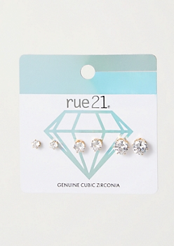 3-Pack Gold Genuine Cubic Zirconia Earring Set
