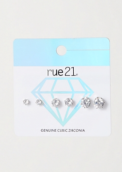 3-Pack Silver Genuine Cubic Zirconia Earring Set