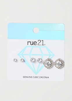 3-Pack Silver Square Genuine Cubic Zirconia Earring Set