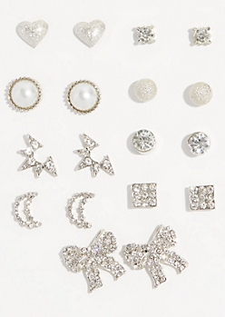 9-Pack Silver Pearl Bow Stud Earring Set