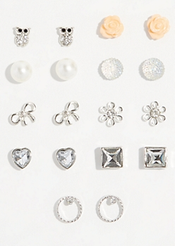 9-Pack Silver Iridescent Bead Stud Earring Set