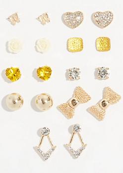 9-Pack Gold Yellow Gem Stud Earring Set