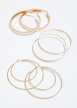 3-Pack Gold Faux Snakeskin Hoop Earring Set