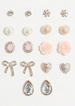 9-Pack Rhinestone Bow Stud Earring Set