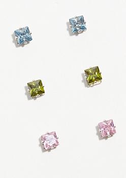 3-Pack Bright Cubic Zirconia Stud Earring Set