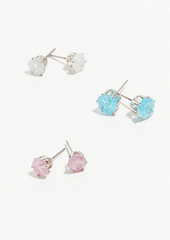 3-Pack Pastel Cubic Zirconia Stud Earring Set