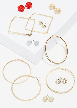 9-Pack Gold Rose Square Hoop Earrings Set