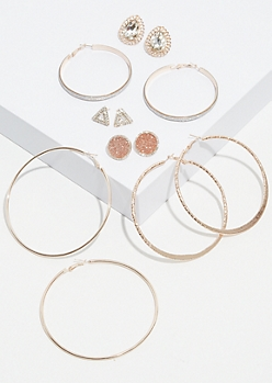 9-Pack Rose Gold Triangle Hoop and Stud Earring Set