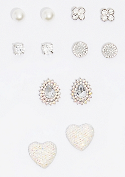 6-Pack Silver Gem Heart Stud Earring Set
