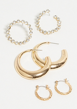 3-Pack Gold Snakeskin Small Hoop Earring Set