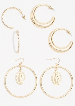 3-Pack Gold Hanging Saint Small Hoop Earring Set