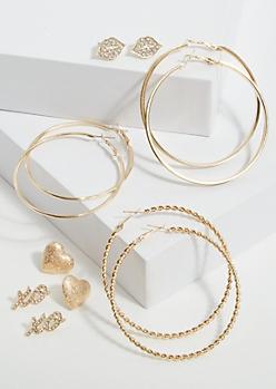 6-Pack Gold Hugs Kisses Earring Set