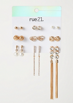 9-Pack Gold Pearl Gem Earring Set