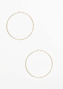 Gold Gemstone Skinny Hoop Earrings