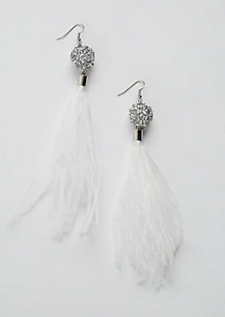 White Feather Dangle Earrings