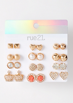 12-Pack Gold Gemstone Crown Stud Earring Set