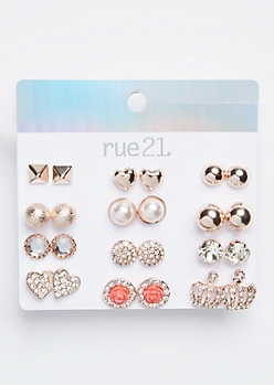 12-Pack Rose Gold Gemstone Crown Stud Earring Set