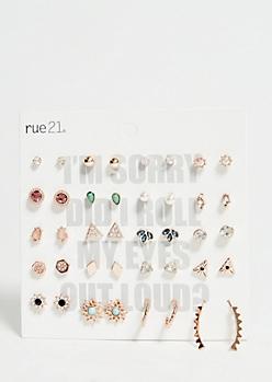 20-Pack Pearl Gem Stud Earring Set