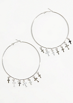 Silver Cross Skinny Hoop Earrings