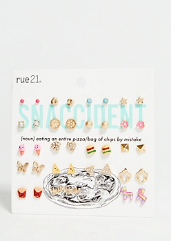 20-Pack Mixed Metal Snack Food Earring Set