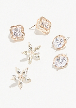 3-Pack Rose Gold Cubic Zirconia Flower Earring Set