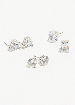 3-Pack Silver Cubic Zirconia Pearl Earring Set