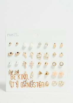 20-Pack Mixed Metal Wishbone Earring Set