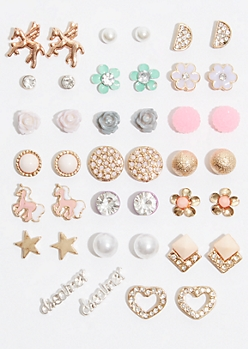 20-Pack Mixed Metal Unicorn Dreamer Earring Set