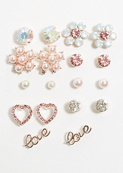 9-Pack Rose Gold Pearl Flower Stud Earring Set