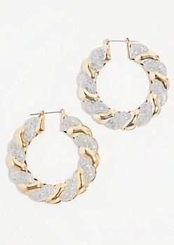Gold Glitter Accent Hoop Earrings