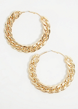 Gold Oversized Chain Hoop Earrings